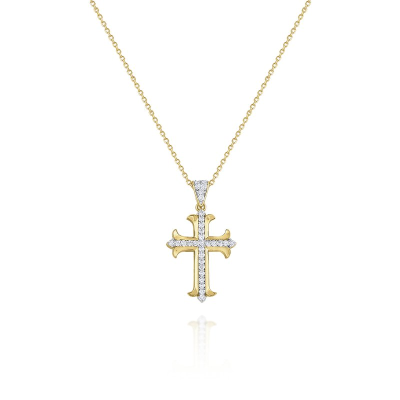 KC Designs 14K Gold and Diamond Cross Pendant