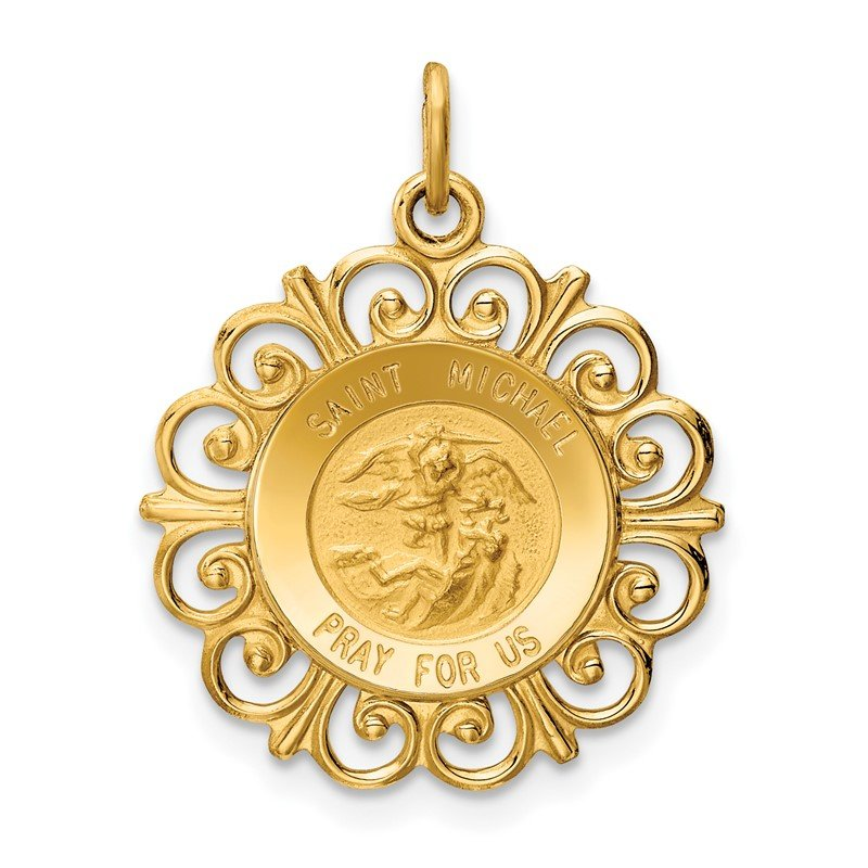Quality Gold 14k Saint Michael Medal Charm