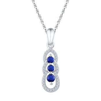 10kt White Gold Womens Round Lab-Created Blue Sapphire 3-stone Pendant 1/2 Cttw