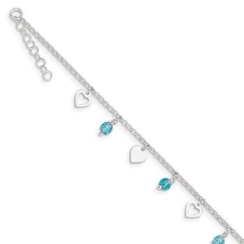 Sterling Silver 9 inch Heart and Blue Glass Plus1in ext. Anklet