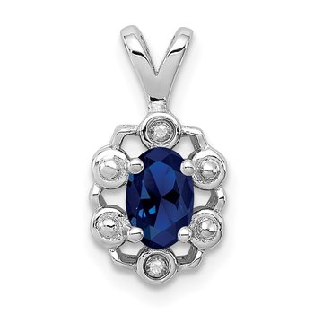 Sterling Silver Rhodium-plated Created Sapphire & Diam. Pendant