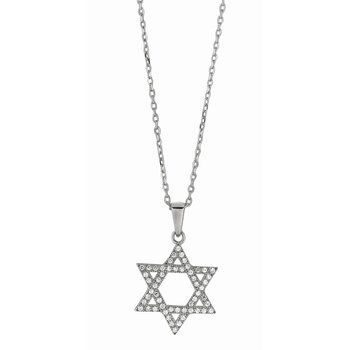 Silver CZ Star of David Necklace