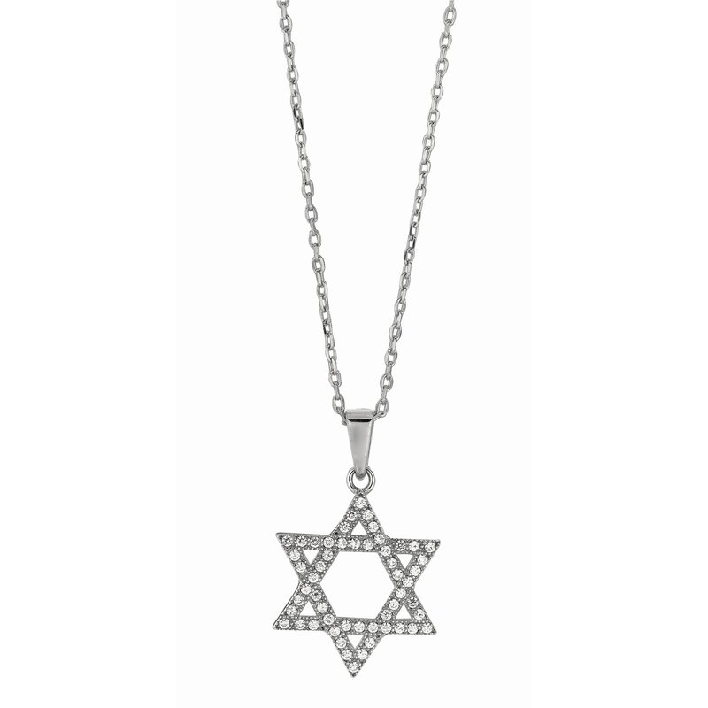 Royal Chain Silver CZ Star of David Necklace