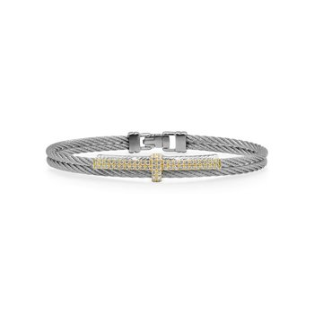 Grey Cable Petite Opulence Bracelet with 18kt Yellow Gold & Diamonds