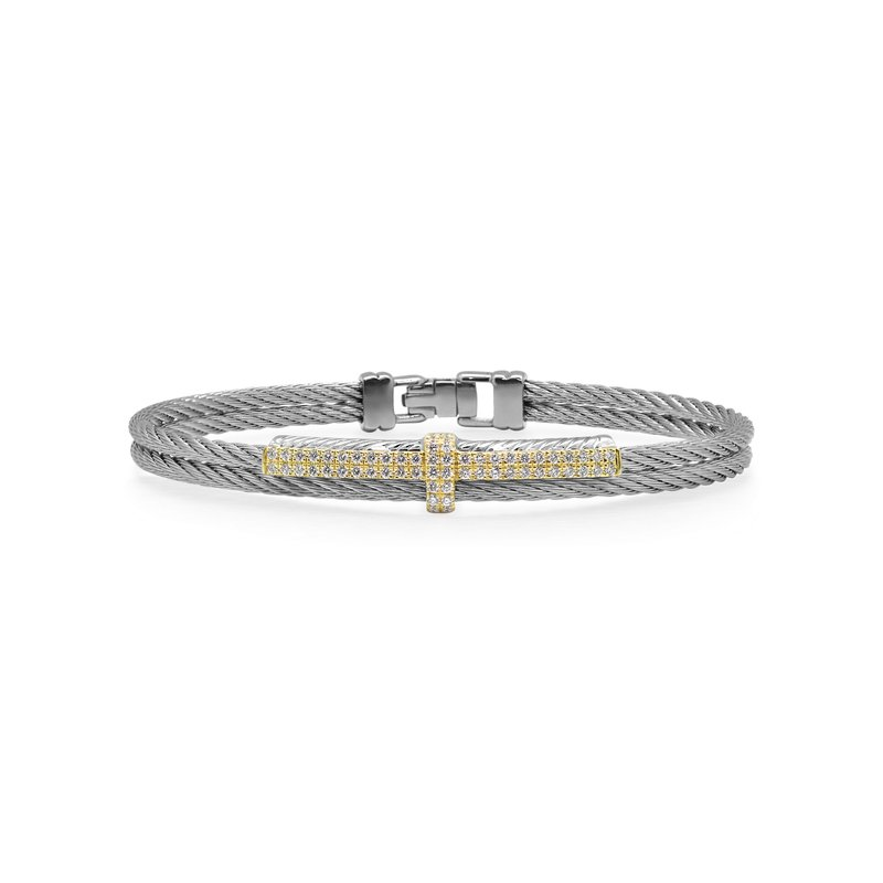 ALOR Grey Cable Petite Opulence Bracelet with 18kt Yellow Gold & Diamonds