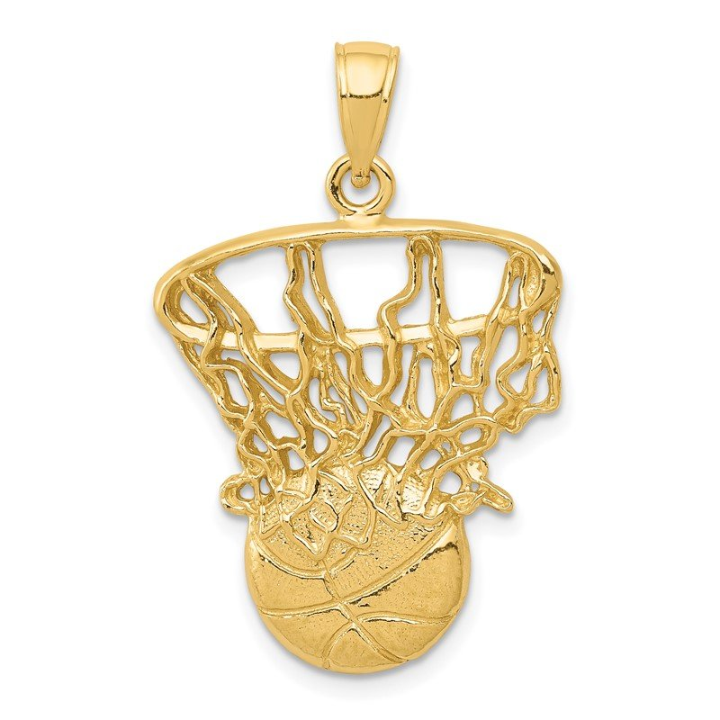 Quality Gold 14k Swoosh Basketball and Net Pendant