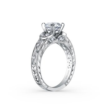 Kirk Kara 18K White Gold Leaf Diamond Engraved Engagement Ring