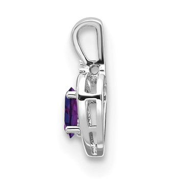 14k White Gold Amethyst and Diamond Heart Pendant