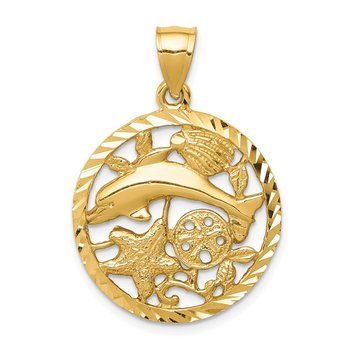 14K Diamond-cut Dolphin and Shells Circle Pendant