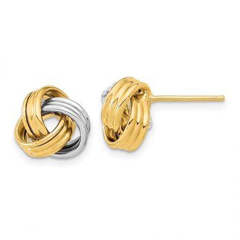 14k Two-Tone Polished Love Knot Post Earrings