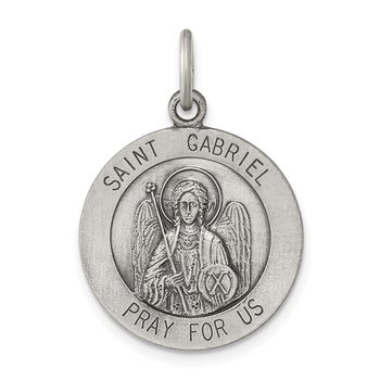 Sterling Silver Antiqued Saint Gabriel Medal