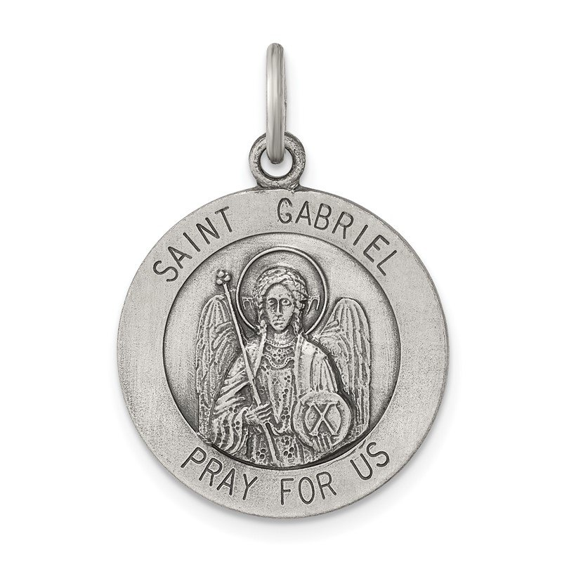 Quality Gold Sterling Silver Antiqued Saint Gabriel Medal