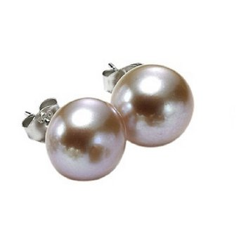 Silver Fresh Water Orange Pearl Studs 8 1/2 mm