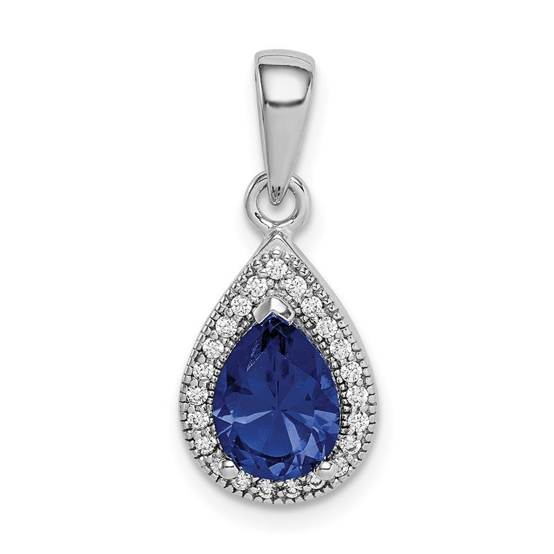 Quality Gold Sterling Silver Rhodium Plated Blue and Clear CZ Pendant