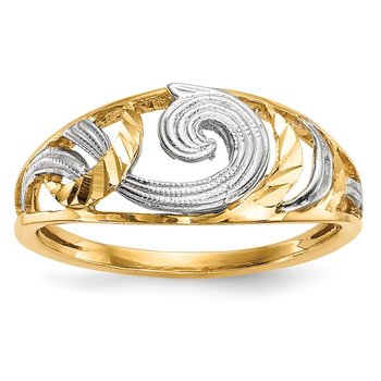 14k w/White Rhodium Polished & D/C Swirls Ring