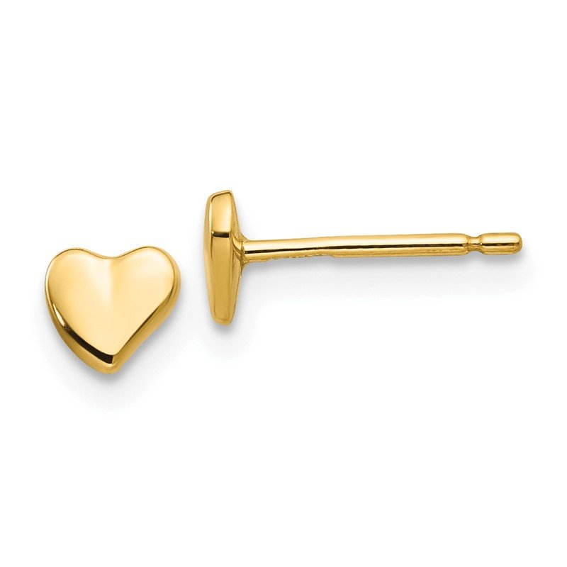 Quality Gold 14K Polished Heart Post Stud Earrings