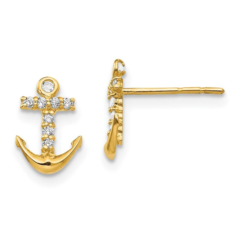 Quality Gold 14k Madi K CZ Anchor Post Earrings
