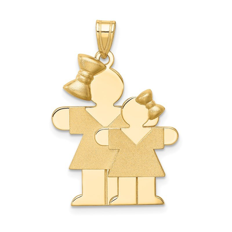 Quality Gold 14k Big Girl and Little Girl Engravable Charm