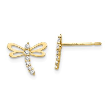 14k Madi K CZ Children's Dragonfly Post Earrings