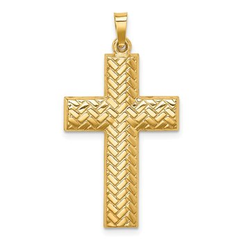 14k Hollow Polished Basketweave Design Latin Cross