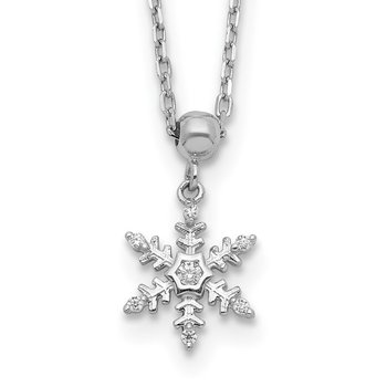 Sterling Silver Rhodium-plated CZ Snowflake w/2 IN Ext Necklace