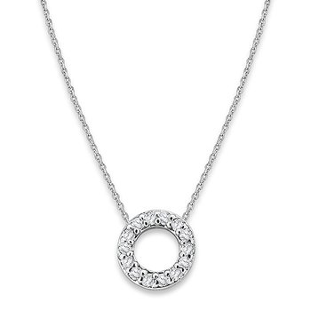 "Diamond Baby Typewriter Initial ""O"" Necklace in 14k White Gold with 14 Diamonds weighing .08ct tw."