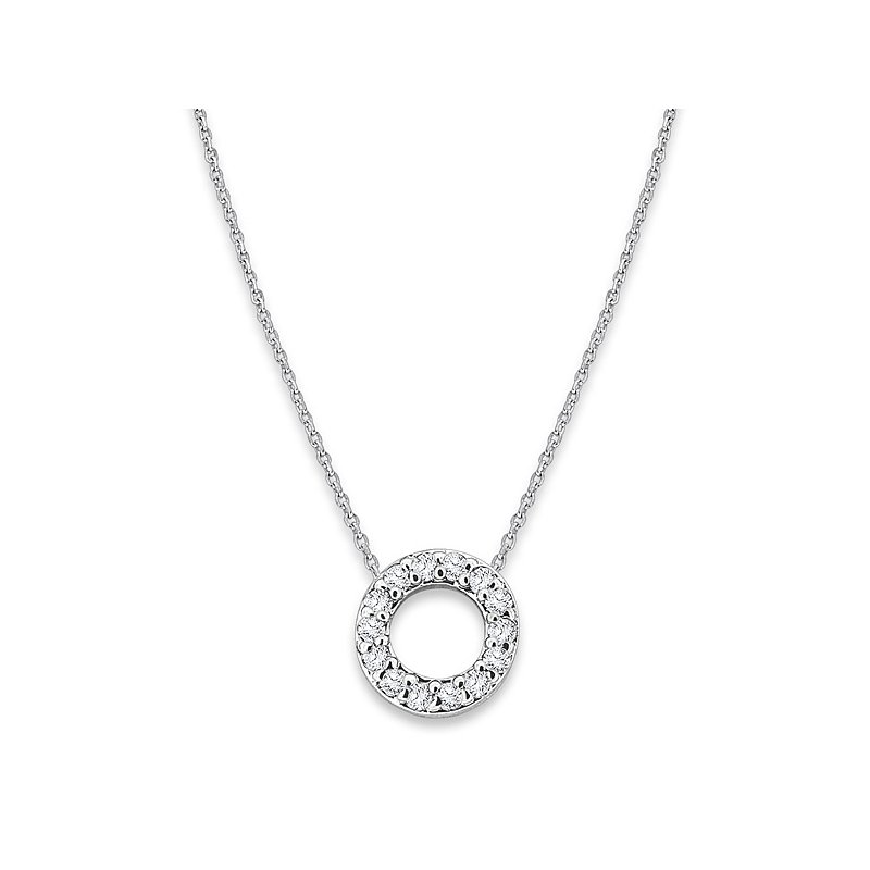 "KC Designs Diamond Baby Typewriter Initial ""O"" Necklace in 14k White Gold with 14 Diamonds weighing .08ct tw."