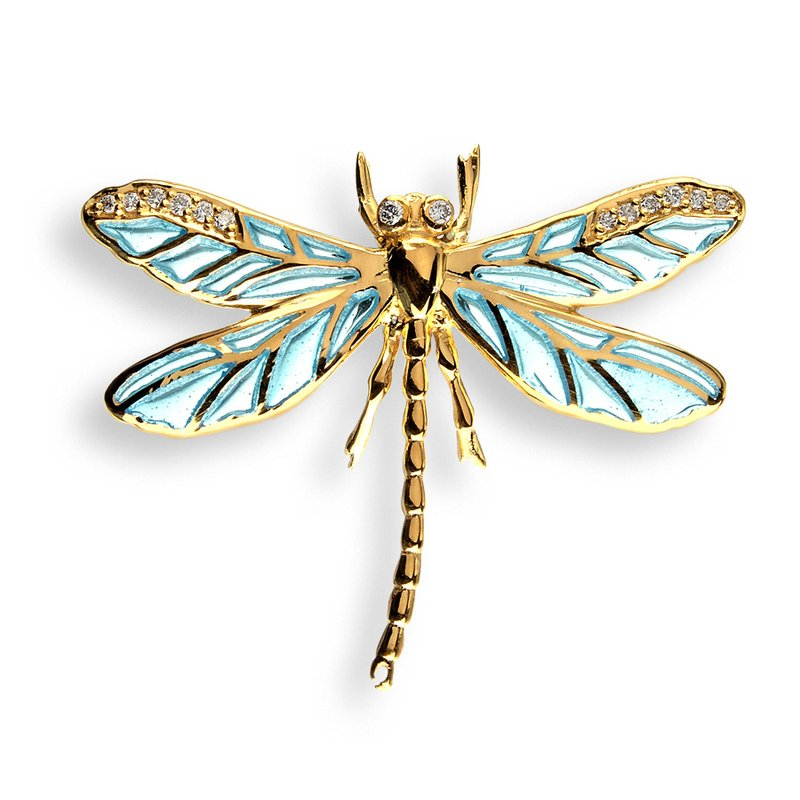 Nicole Barr Designs Blue Dragonfly Lapel Pin.18K -Diamonds - Plique-a-Jour
