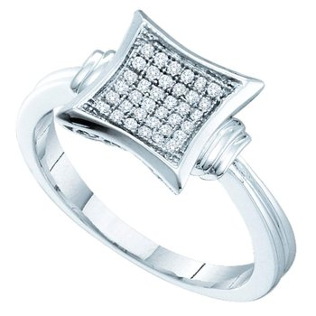 Sterling Silver Womens Round Diamond Square Kite Cluster Ring 1/10 Cttw
