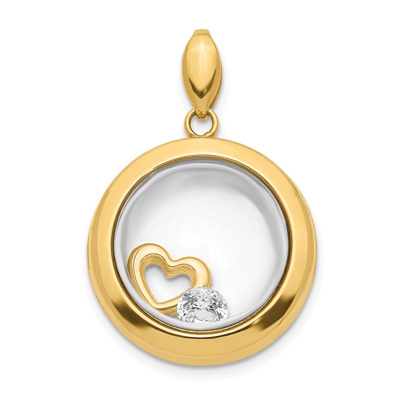 Quality Gold 14K CZ 18mm Circle Glass Pendant