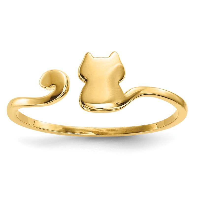 Quality Gold 14k Gold Polished Cat Adjustable Cuff Ring