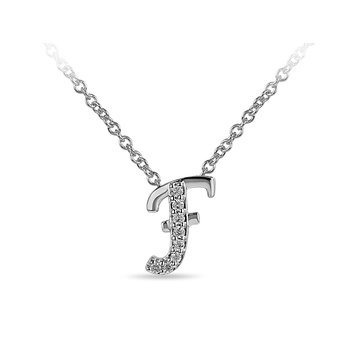 "10K WG and diamond cursive alphabet F ""Chain Sliding "" pendant in prong setting"