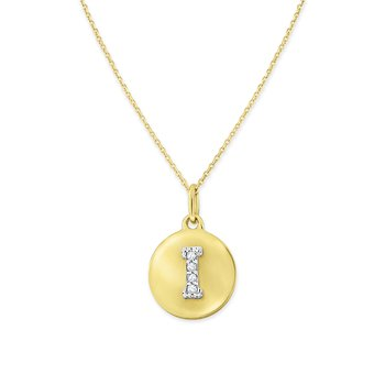 Diamond Uppercase Mini Disc Initial I Necklace