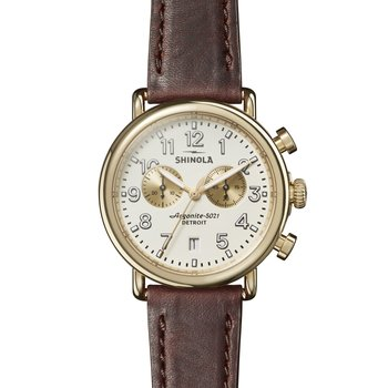 The Runwell Chrono 41mm PVD Gold Stainless Ivory Dial Watch