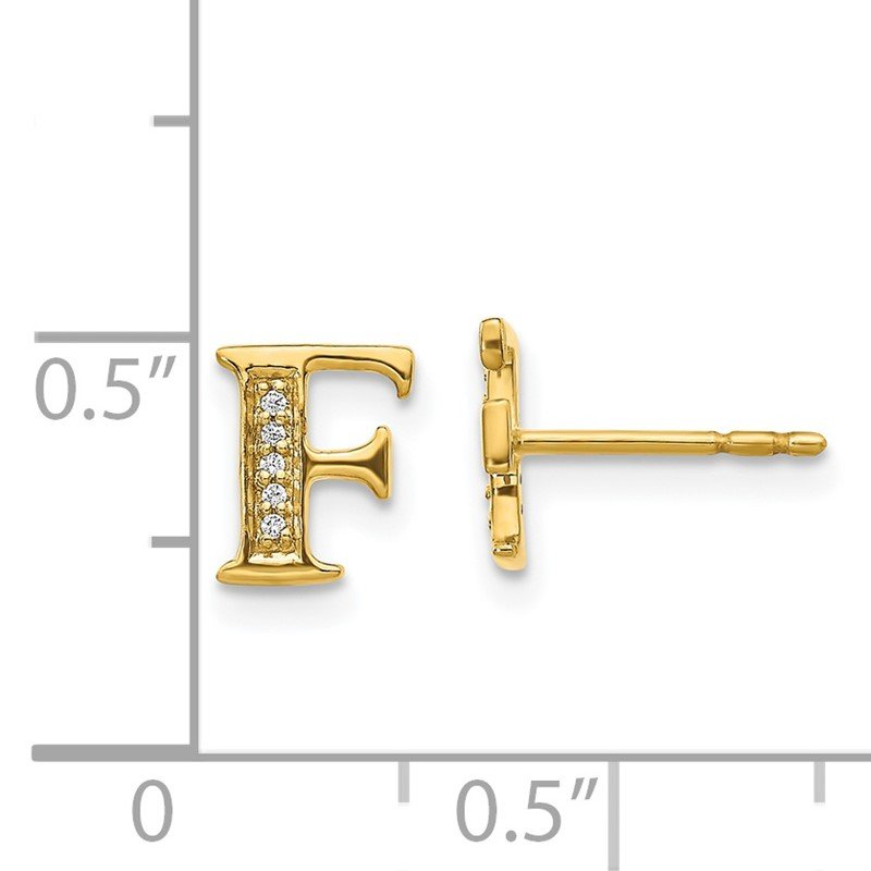 Quality Gold 14k White Gold Diamond Initial F Earrings