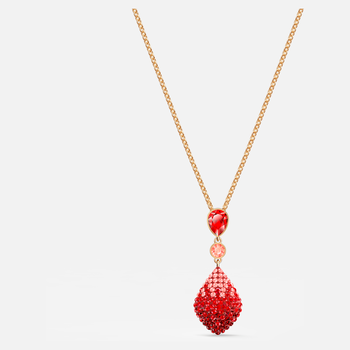 Fun Pendant, Red, Gold-tone plated