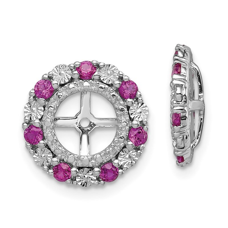 Lester Martin Online Collection Sterling Silver Rhodium Created Ruby Earring Jacket