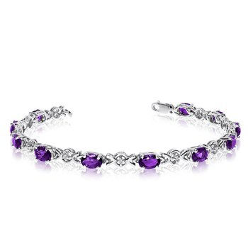 14K White Gold Oval Amethyst and Diamond Bracelet