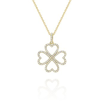 Diamond Four Leaf Clover Pendant Set in 14 Kt. Gold