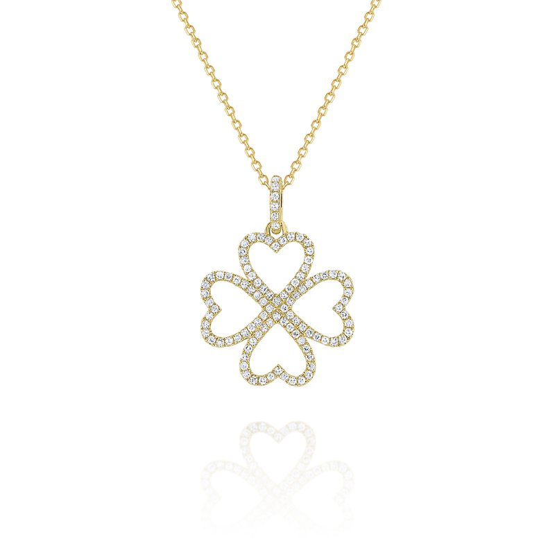 MAZZARESE Fashion Diamond Four Leaf Clover Pendant Set in 14 Kt. Gold