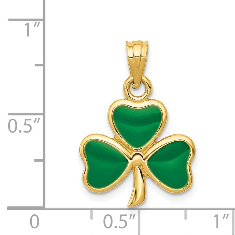 Quality Gold 14k Enameled 3 Leaf Clover Pendant