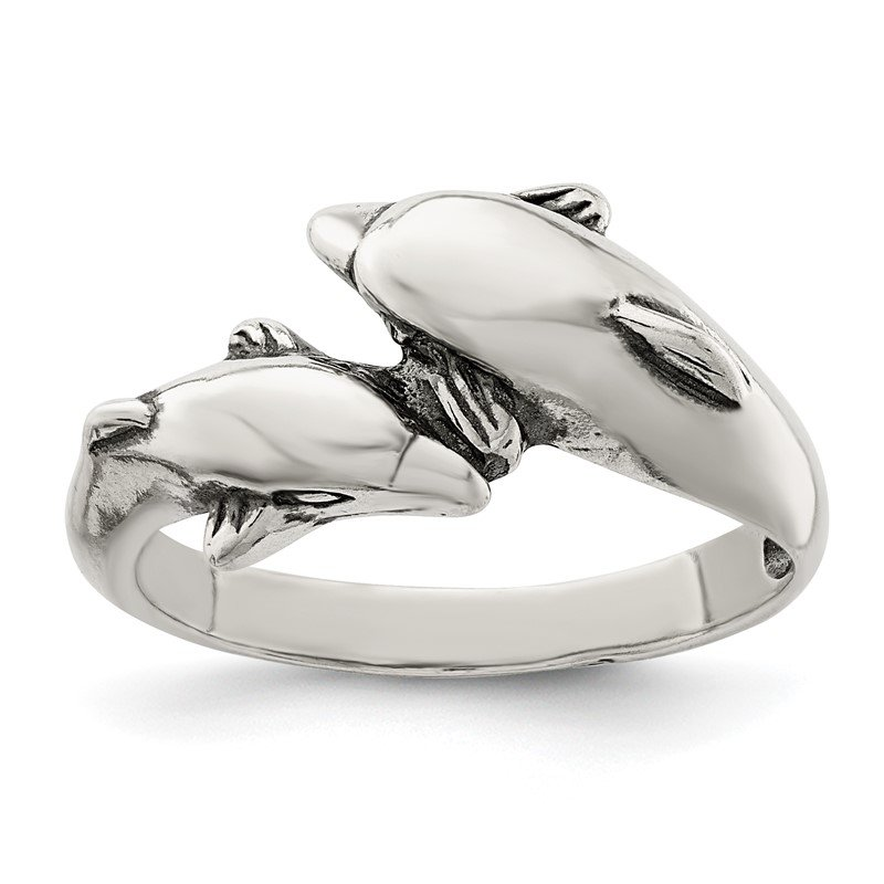 Quality Gold Sterling Silver Dolphin Ring