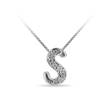 "10K WG and diamond cursive alphabet S ""Chain Sliding "" pendant in prong setting"