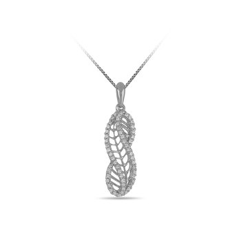 925 SS and Diamond Wavy Leaf Pendant in Prong Setting