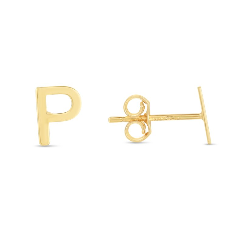 Royal Chain 14K Gold Initial P Stud Earring