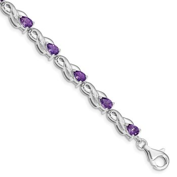 Sterling Silver Rhodium-plated Amethyst Bracelet