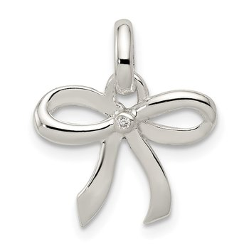 Sterling Silver Polished Diamond Bow Pendant