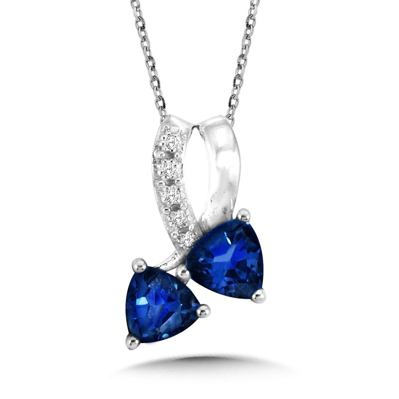 SDC Creations Trillion-Cut  Created Sapphire and Diamond Pendant