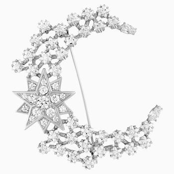 Penélope Cruz Moonsun Brooch, Limited Edition, White, Rhodium plated