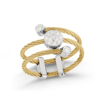 Yellow Cable Flex Ring with Round Diamond Stations Set in 18kt White Gold